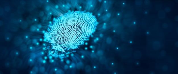 Tecnologia de segurança do futuro a varredura de impressão digital fornece acesso seguro. conceito de segurança de impressão digital
