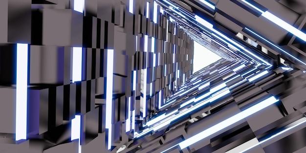Tecnologia de túnel a laser porta do corredor triangular de luz de néon ilustração 3d