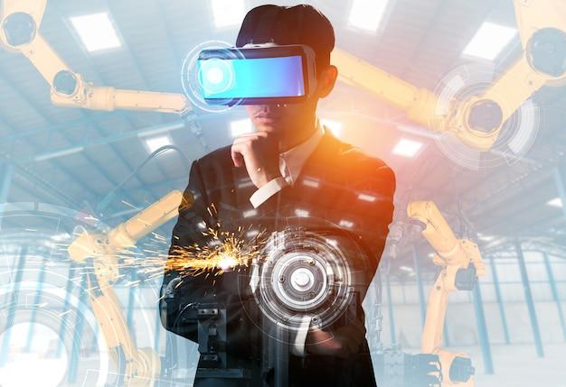 Tecnologia de vr do futuro para controle de braço de robô da indústria mecanizada