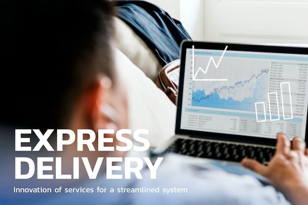 Tecnologia financeira de entrega expressa com fundo gráfico de negociação forex