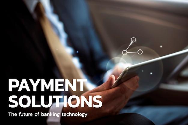 Tecnologia financeira de soluções de pagamento com empresário usando plano de fundo do tablet