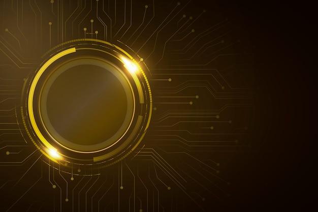 Tecnologia futurista de fundo dourado de circuito digital de círculo