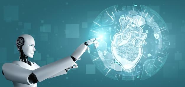 Tecnologia médica do futuro controlada por robô de ia usando aprendizado de máquina Foto Premium