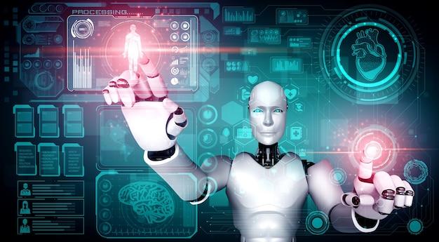 Tecnologia médica do futuro controlada por robô de ia usando aprendizado de máquina