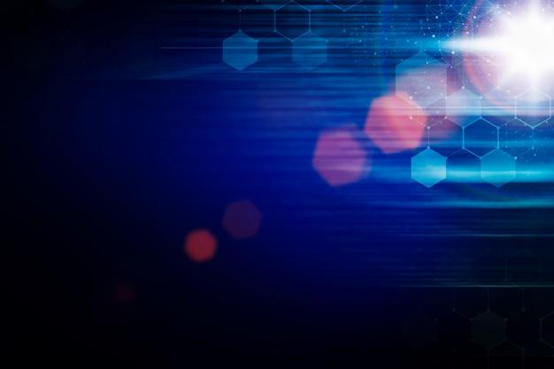 Tecnologia moderna com reflexo de luz em fundo azul escuro