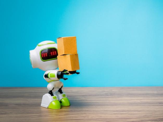 Tecnologia robô segurando indústria a caixa ou robôs trabalhando em vez de seres humanos