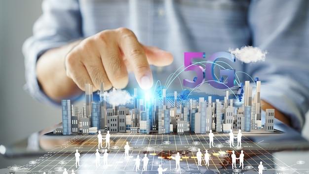 Tecnologia sem fio de rede 5g no fundo da cidade, renderização em 3d