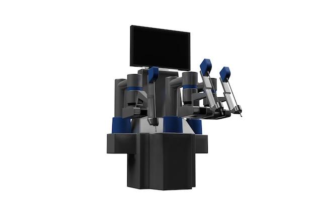 Tecnologias médicas modernas 3d. braço robótico isolado no branco