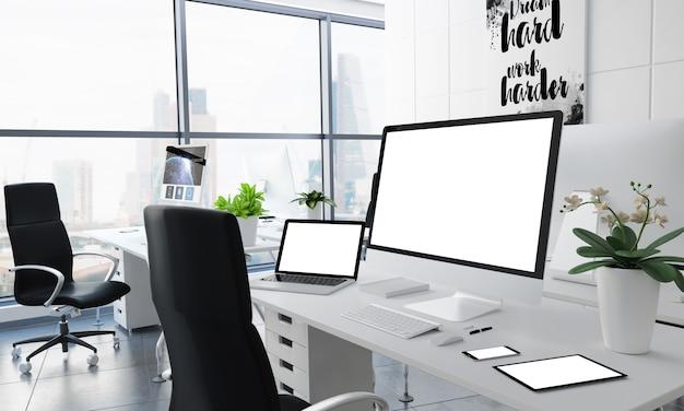 Tela branca de dispositivos de mesa de escritório