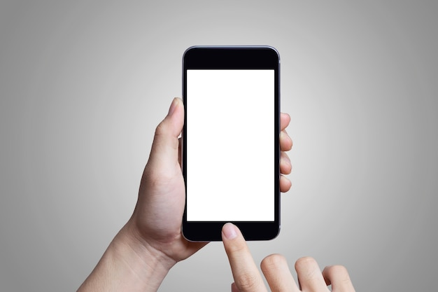 Tela branca de maquete no celular com as mãos se tocando.