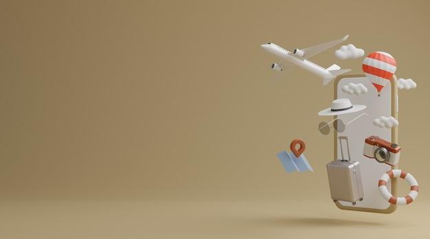 Tela branca do celular com avião, balão, anel de borracha de natação, bagagem