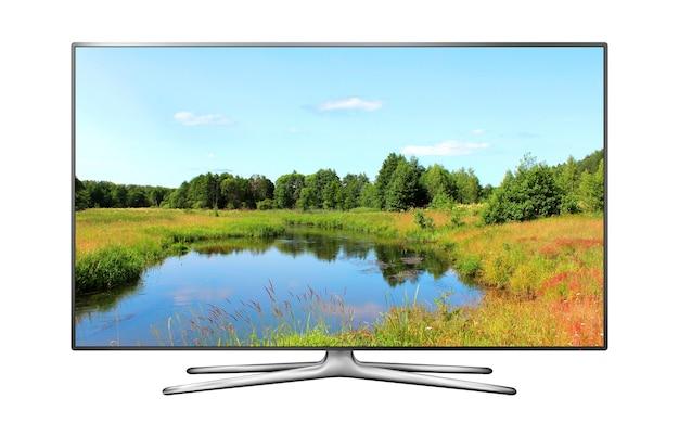 Tela da smart tv isolada com papel de parede da natureza