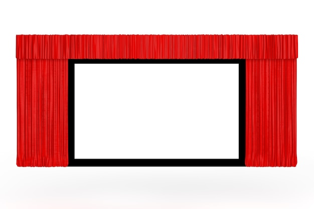 Tela de cinema com cortina vermelha aberta em um fundo branco. renderização 3d