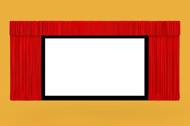 Tela de cinema com cortina vermelha aberta sobre um fundo amarelo. renderização 3d