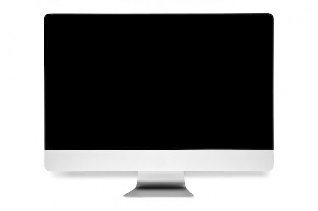 Tela de computador com a tela branca em branco isolada no branco. monitor de 5k