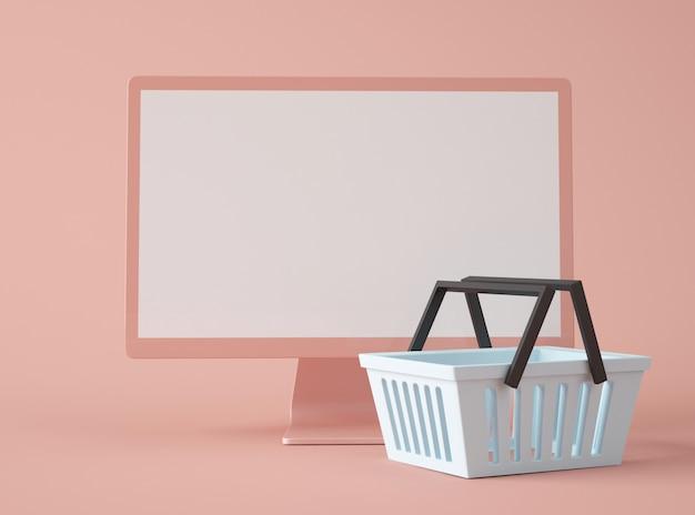 Tela de computador com cesto de compras.