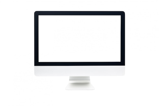 Tela de computador com tela branca em branco, isolada no fundo branco