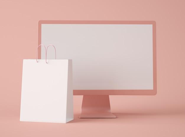 Tela de computador em branco com sacola de compras.