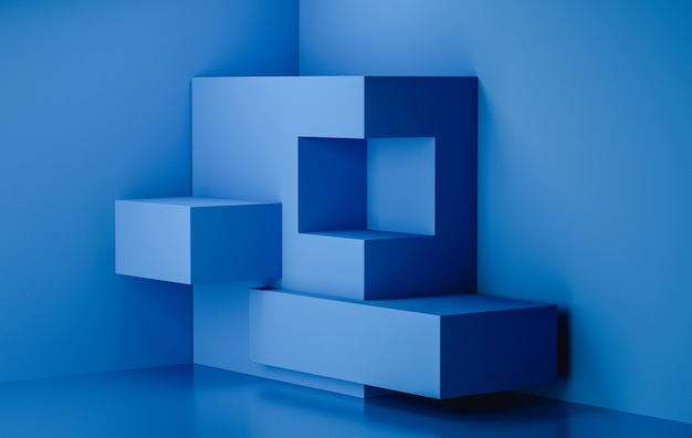 Tela de estágio de renderização 3d, cor de fundo azul