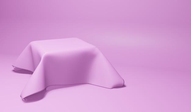 Tela de exibição de produtos em tecido, cor rosa, perspectiva