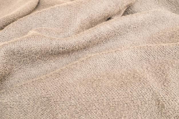 Tela de jaqueta marrom enrugada closeup
