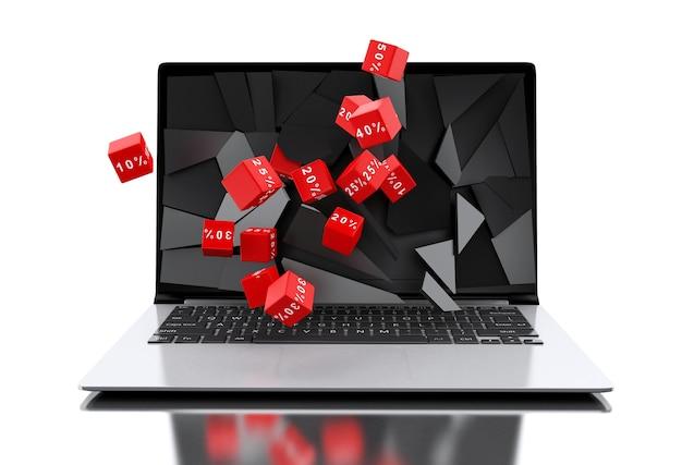 Tela de laptop quebrado 3d com ícones de desconto