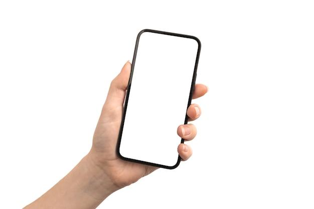 Tela de maquete de telefone celular isolada em uma foto de fundo branco