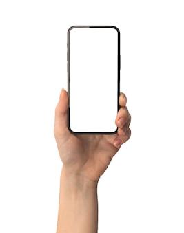 Tela de maquete do celular em mão feminina isolada em uma foto de fundo branco