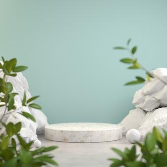 Tela de pódio de pedra com rocha branca e desfoque de planta primeiro plano fundo abstrato renderização em 3d