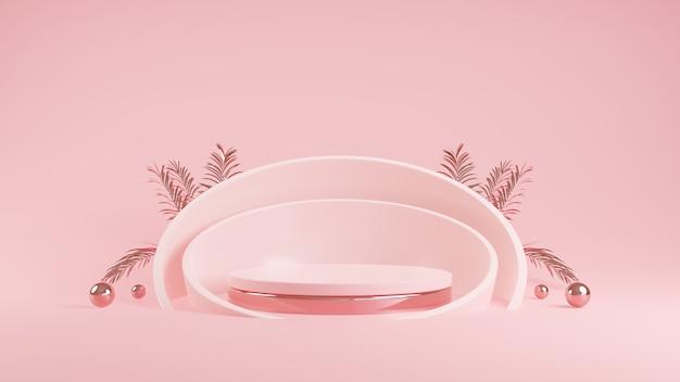 Tela de pódio geométrico de cor rosa abstrata