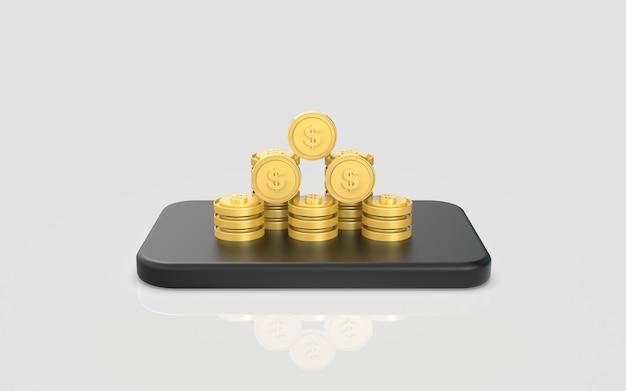 Tela de renderização em 3d do conceito de marketing digital de moedas de mídia social