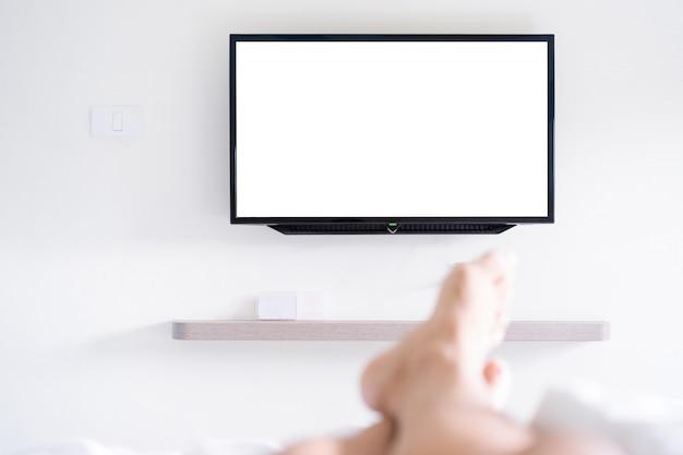 Tela de televisão de tv led preto.