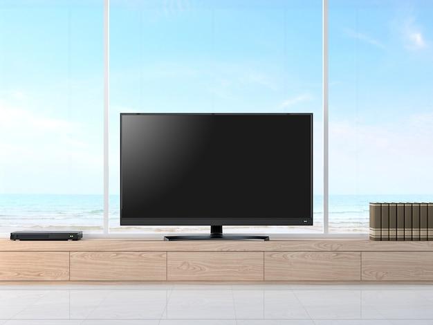Tela de televisão vazia com vista para o mar renderização em 3d; piso branco e armário de madeira