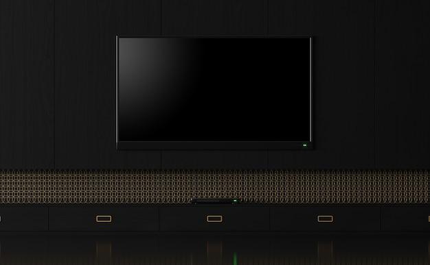 Tela de tv vazia de luxo com renderização 3d em preto e dourado decorar parede com padrão de anel dourado