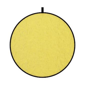 Tela difusora photograpic golden disk light reflector em um fundo branco. renderização 3d