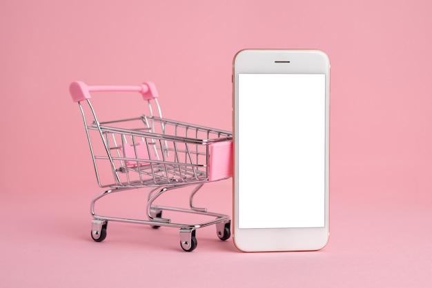 Tela do celular no modelo de carrinho de compras, entrega e compras online