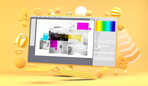 Tela do computador cercada por elementos de design gráfico renderização em 3d