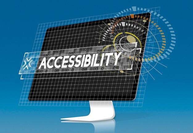 Tela do computador com pop-up gráfico de palavra de acessibilidade