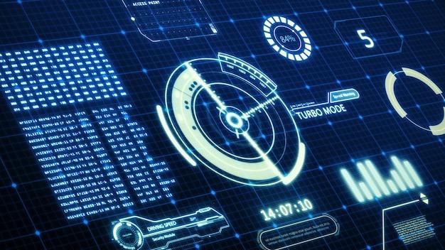 Tela do computador da interface do usuário da velocidade do carro do hud com fundo de pixels