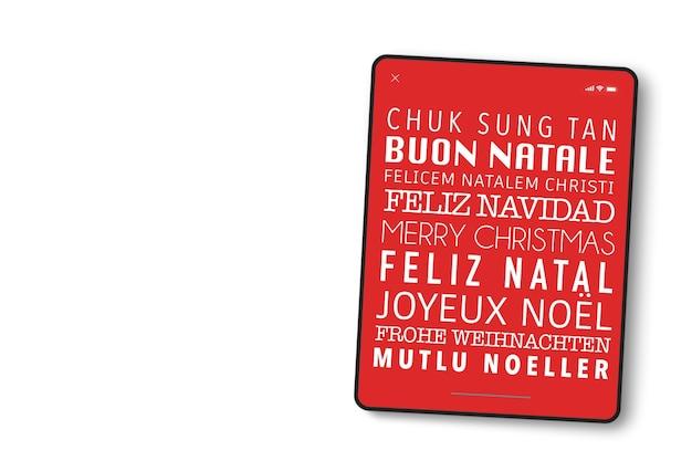 Tela do dispositivo em formato de tablet com feliz natal escrito em diversos idiomas.