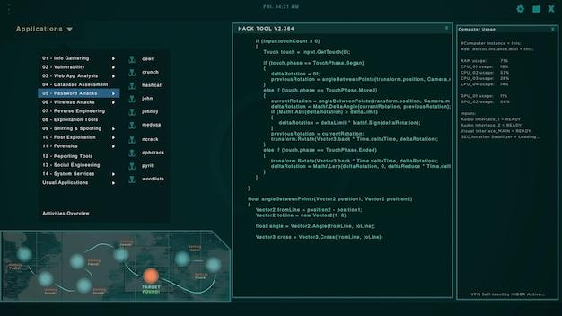 Tela do hacker com várias janelas exibindo strings de código e tentando invadir servidores. ataque cibernético e crime