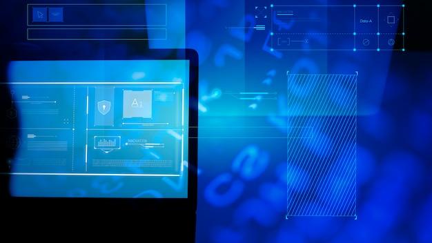 Tela do laptop com informações técnicas