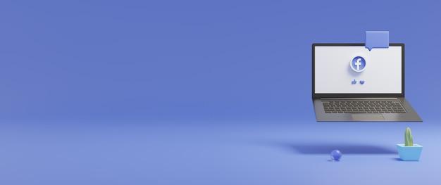 Tela do laptop com o logotipo do facebook exibido com renderização 3d de espaço de cópia