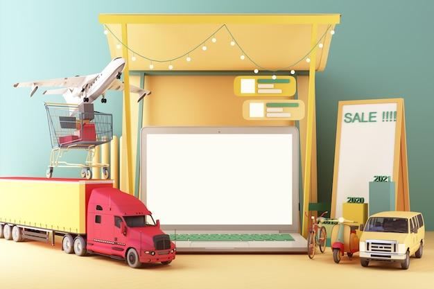Tela do laptop serviço de entrega online remessa pela internet transporte logística digital renderização em 3d