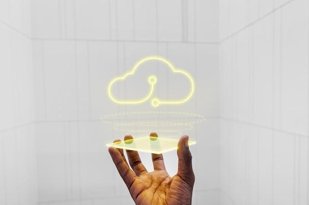 Tela do projetor de holograma com tecnologia de sistema em nuvem