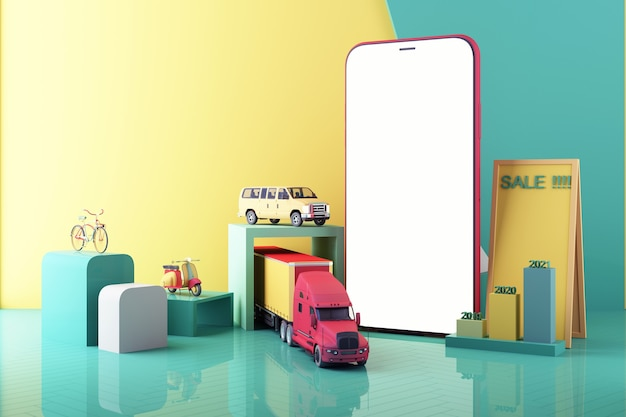 Tela do telefone serviço de entrega online remessa pela internet transporte e renderização 3d digital logística