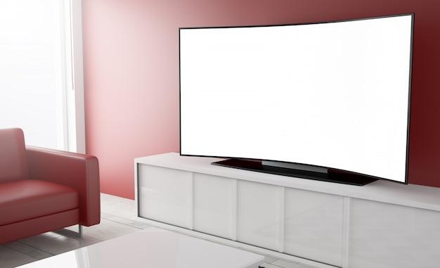 Tela em branco branco de televisão curvo