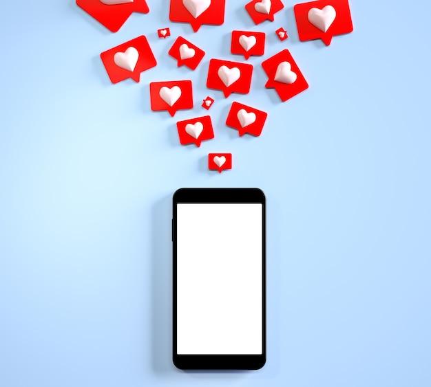 Tela em branco da maquete do telefone móvel com muitas mídias sociais, como notificações e renderização