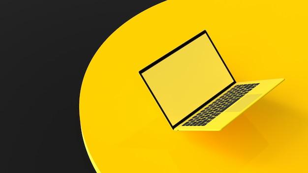 Tela em branco de cor amarela portátil na tabela dek de trabalho.