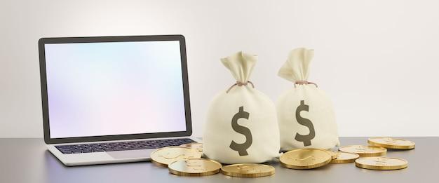 Tela em branco do laptop com saco de dinheiro e moeda de ouro. imagem para o conceito de negócio financeiro. imagem de renderização de ilustração 3d.